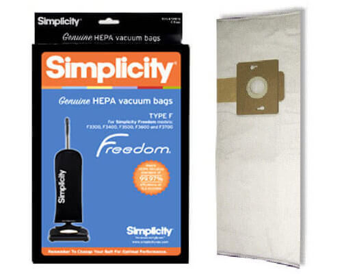 Simplicity Freedom Type F HEPA Vacuum Bags - Click Image to Close